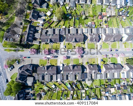 MOERS / GERMANY - APRIL 21 2016 : The district Meerbeck in the sun, aerial