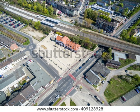 MOERS / GERMANY - APRIL 21 2016 : The main station in the sun, aerial