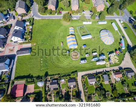 MOERS / GERMANY - SEPTEMBER 29 2015 - Circus Kuebler prepares for the show, aerial shot