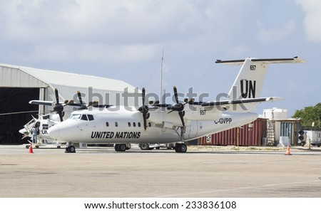 Mogadishu, Somalia - November 3, 2014:The United Nations aircraft, UN , World Food Program is active in Somalia - stock photo