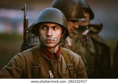 MOGILEV, BELARUS - MAY, 08, 2015: Unidentified re-enactor dressed as Soviet soldier during events dedicated to 70th anniversary of the Victory of the Soviet people in the Great Patriotic War.