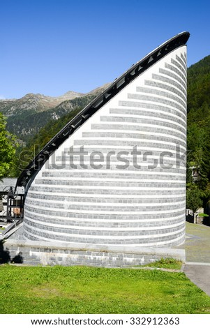 Mogno, Switzerland - 22 september 2014: Church of Mogno on the Swiss alps. Built by architect Mario Botta