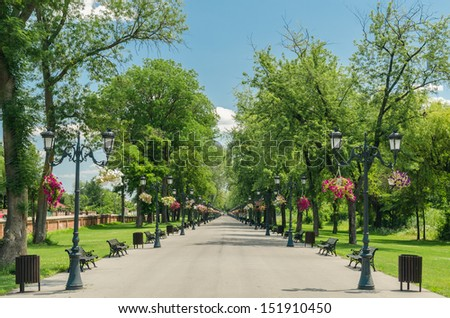 Mogosoaia Public Park Alley In Bucharest, Romania. - stock photo