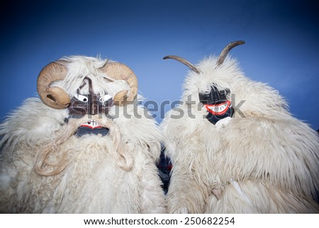 MOHACS, HUNGARY - FEBRUARY 12: Unidentified people in mask participants at the Mohacsi Busojaras, it is a carnival for spring greetings) February 12, 2013 in Mohacs, Hungary. - stock photo