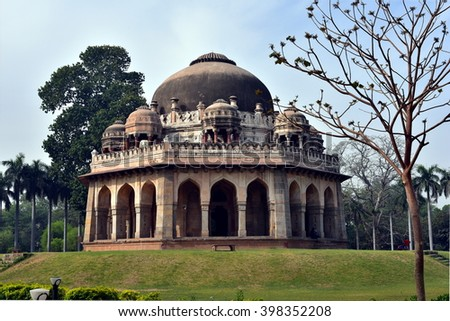 Mohammed Shah's Tomb in Lodi Gardens, Ancient Mughal Architecture in India, New Delhi - stock photo
