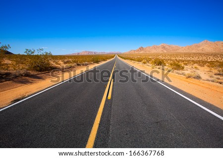 Mohave desert by Route 66 in California Yucca Valley USA - stock photo