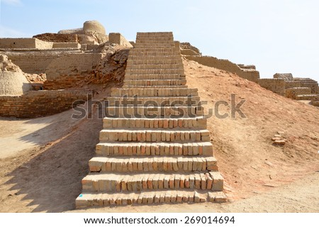MOHENJO- DARO, PAKISTAN â?? MARCH 28 2015: Mohenjo-daro is an ancient Indus Valley Civilization city that built around 2600 BCE and flourished till 1900 BCE. It was  rediscovered in the 1920s.   - stock photo