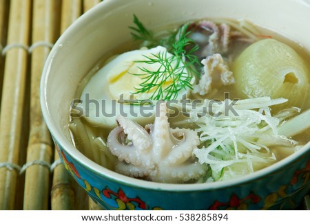 Mohinga  rice noodle and fish soup from Myanmar.Burmese cuisine