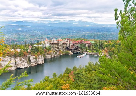 Mohonk Mountain House, located in upstate New York in the Shawangunk Mountains - stock photo
