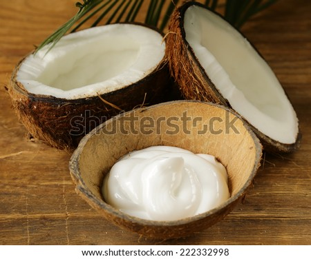 moisturizer natural coconut cream for face and body - stock photo