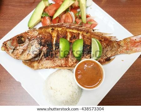 Mojarra Frita, a Mexican entree with fish. - stock photo