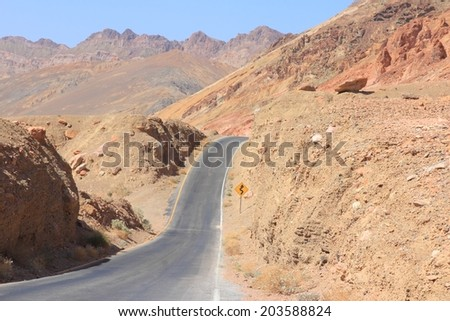 Mojave Desert in California, United States. Scenic view of famous Artist Drive in Death Valley National Park (Inyo County). It is an alluvial fan of Black Mountains. - stock photo