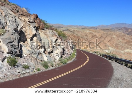 Mojave Desert in California, United States. Scenic view of road in Death Valley National Park (Inyo County).