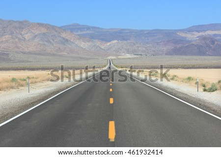 Mojave Desert in California, United States. Scenic view of road in Panamint Valley in Death Valley National Park (Inyo County).