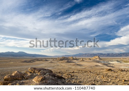 Mojave desert rock formation near Ridgecrest and Death Valley California - stock photo