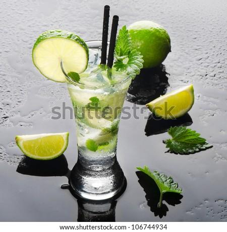 Mojito and limes - stock photo