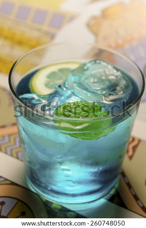 Mojito.Blue Cocktail with lime and Mint. - stock photo