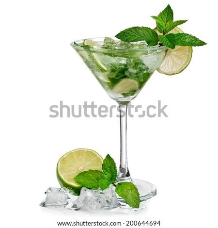 Mojito cocktail in martini glass - stock photo