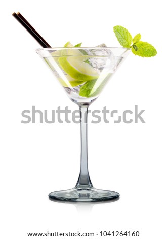 Mojito cocktail in martini glass with mint and tube isolated on white background with clipping path