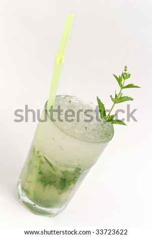 Mojito cocktail isolated on a whit background
