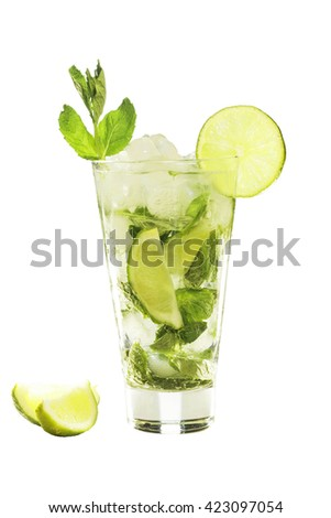 Mojito cocktail isolated on a white background. closeup.