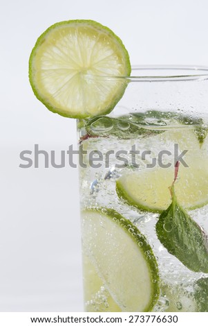 Mojito cocktail Mint, lime alcohol and lemonade - stock photo