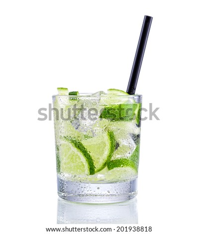 Mojito Cocktail on isolated white - stock photo