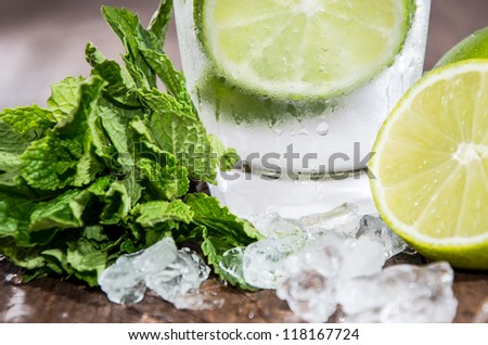 Mojito Cocktail on wooden background - stock photo