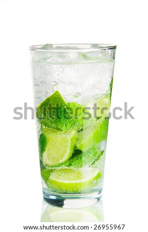 Mojito cocktail over white with reflection - stock photo