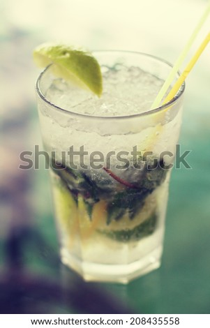 Mojito cocktail. Photo toned style instagram filters - stock photo