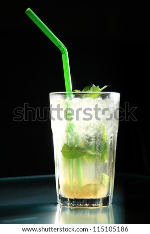 mojito cocktail served on a big glass