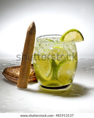 mojito cocktail with a cigar  on very beautiful sharpness image