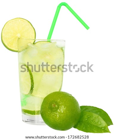 Mojito cocktail with green lime and drinking straw in highball glass on a white background. - stock photo