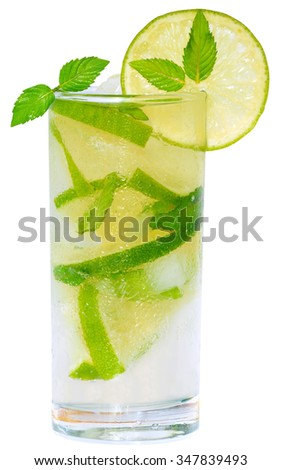 Mojito cocktail with lime and ice cubes and leaf mint in a highball glass on a white background.