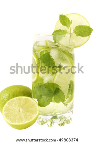 Mojito cocktail with lime, mint leaves and ice on white background