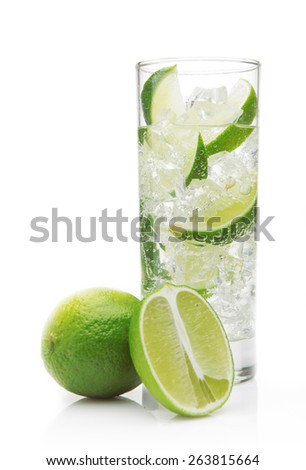 Mojito cocktail with  lime on white - stock photo