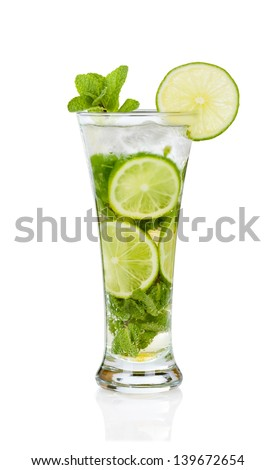 Mojito cocktail with mint twig on white - stock photo
