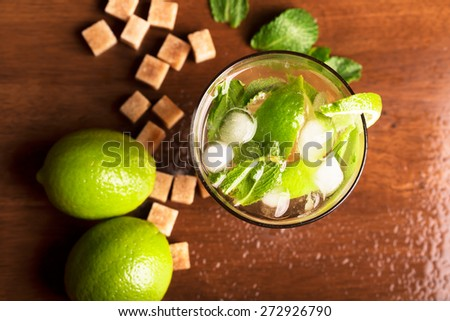 Mojito cocktail with rum,mint and lime - stock photo