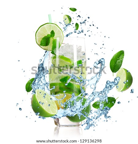 Mojito cocktail with splashing liquid - stock photo