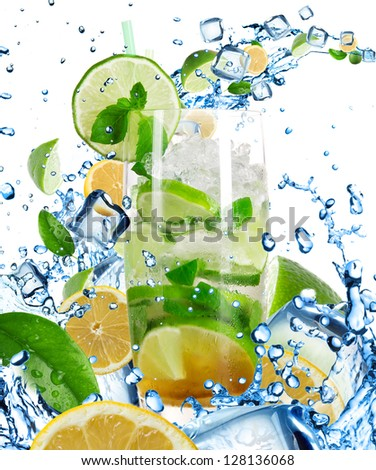Mojito Cocktail with splashing liquid isolated on white - stock photo