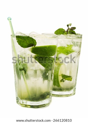 Mojito cocktails isolated on white background - stock photo