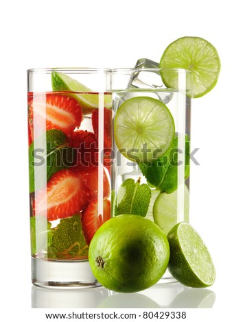 Mojito cocktails - original and strawberry isolated on white - stock photo