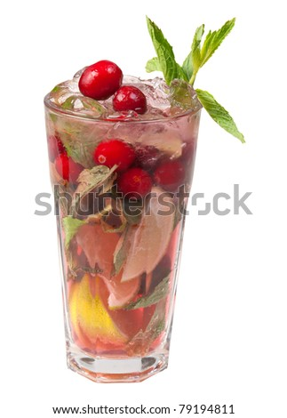 Mojito cranberrycocktail. closeup isolated on white background. - stock photo