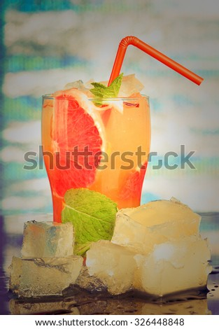 Mojito grapefruit  cocktail. close up - stock photo