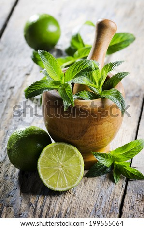Mojito ingredients on rustic wooden table - stock photo