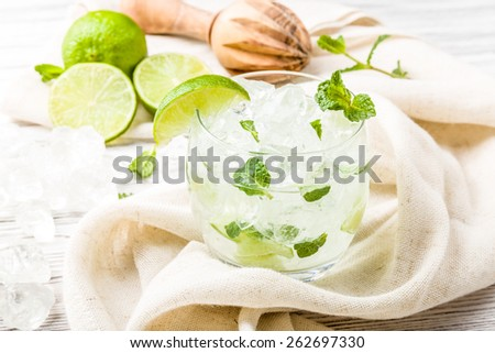 Mojito ingredients with fresh mint and ice