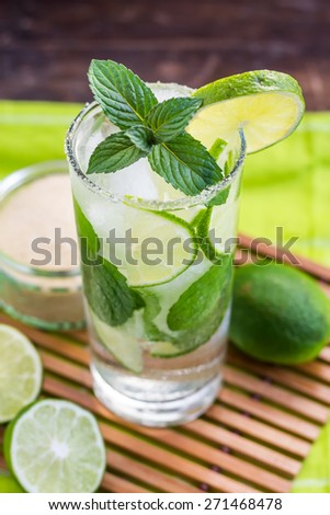 Mojito Lime Alcoholic Drink Cocktail - stock photo