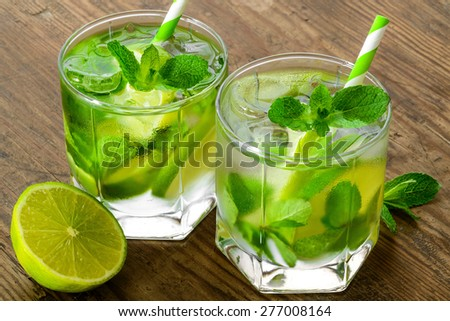 Mojito Lime Drink Cocktails - stock photo
