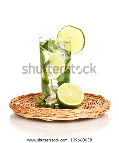 Mojito on the board isolated on white - stock photo