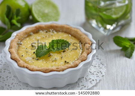 Mojito pie with lime, mint and rum - stock photo